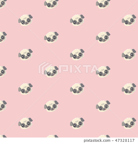 Seamless vector pattern with pug. . 47328117