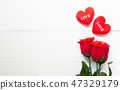 Present gift with red rose flower and heart shape 47329179