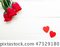 Present gift with red rose flower and heart shape 47329180