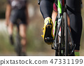 Cycling competition,detail of cycling shoes  47331199
