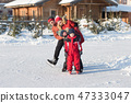 Happy family skate in the winter 47333047