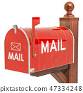 Red Mailbox, 3D rendering 47334248