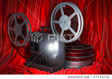 Cinema concept. Cinema projector with movie reels 47334258