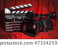 Cinema concept. Movie camera with clapperboard 47334259