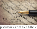 Ancient letter from 16th century with elegant pen 47334617
