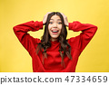 Portrait Happy Asian girl is surprised she is excited.Yellow background studio 47334659