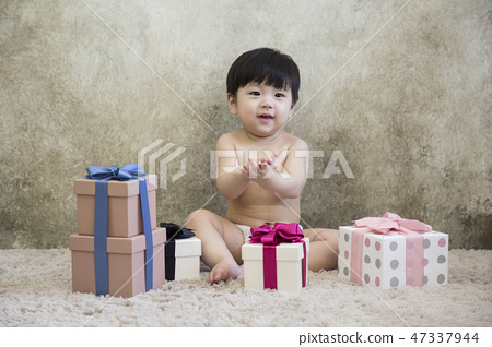 Little two cute babies photo. Baby wearing diaper in white bedroom. 194 47337944