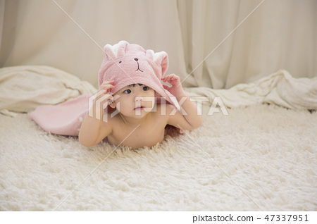Little two cute babies photo. Baby wearing diaper in white bedroom. 168 47337951