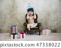 Little two cute babies photo. Baby wearing diaper in white bedroom. 287 47338022