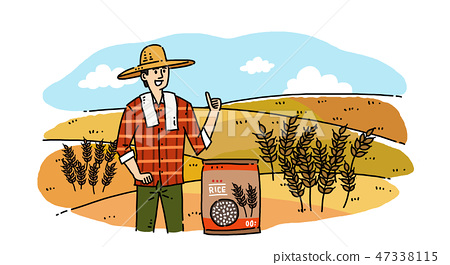 Hand drawing cartoon of farmer and fisherman with their agricultural and marine products vector illustration. 011 47338115