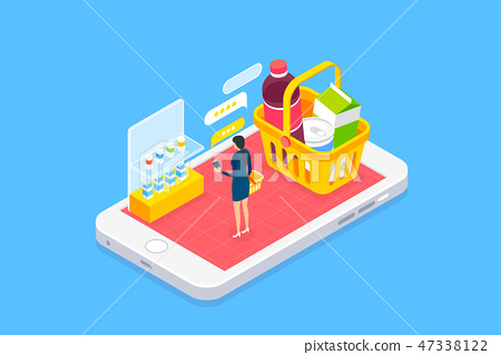 Wireless technology and mobile devices life concept flat 3d isometric infographic vector illustration. 007 47338122