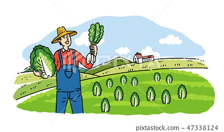 Hand drawing cartoon of farmer and fisherman with their agricultural and marine products vector illustration. 002 47338124
