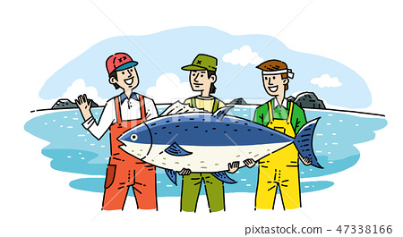 Hand drawing cartoon of farmer and fisherman with their agricultural and marine products vector illustration. 005 47338166
