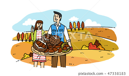 Hand drawing cartoon of farmer and fisherman with their agricultural and marine products vector illustration. 004 47338183