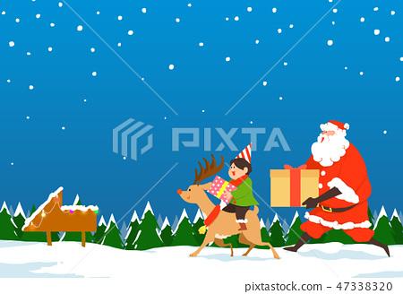 Christmas festive card background with Santa vector illustration. 007 47338320