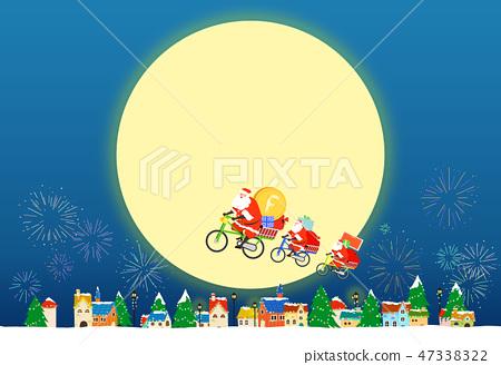 Christmas festive card background with Santa vector illustration. 006 47338322