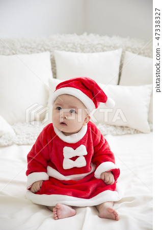 Little two cute babies photo. Baby wearing diaper in white bedroom. 076 47338327