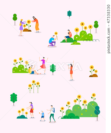 Seamless pattern with flat characters. Flat design element for card, banner and poster vector illustration. 003 47338330