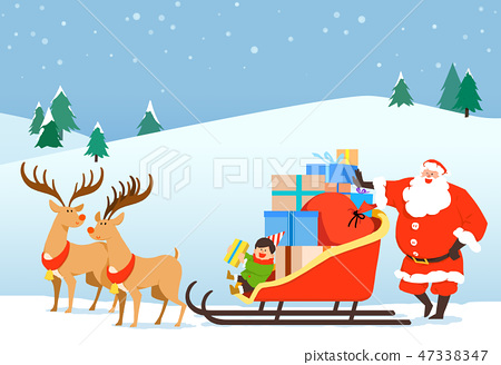 Christmas festive card background with Santa vector illustration. 011 47338347