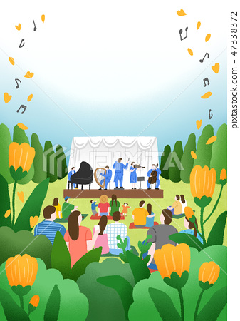 People enjoying outdoor festa or performance in autumn. Beautiful autumn landscape in watercolor painting illustration. 006 47338372