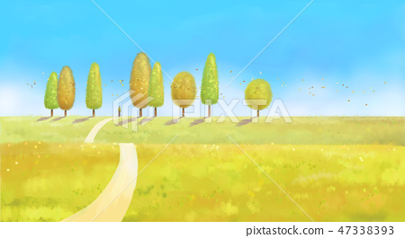 Beautiful autumn forest landscape in watercolor painting style illustration 004 47338393
