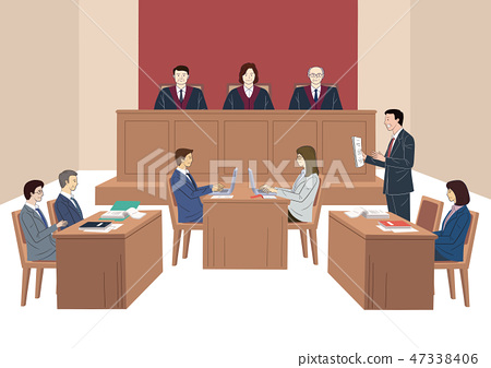 Judges court concept, courtroom scene with judge, lawyers, witness. the judiciary vector illustration. 002 47338406