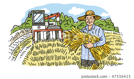Hand drawing cartoon of farmer and fisherman with their agricultural and marine products vector illustration. 001 47338413