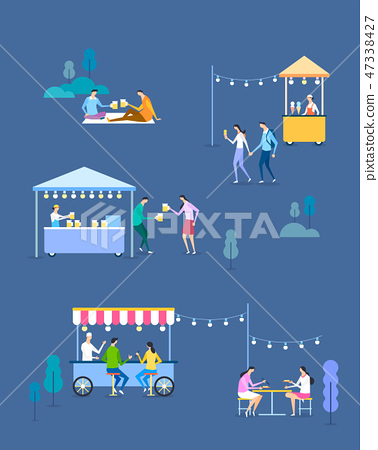 Seamless pattern with flat characters. Flat design element for card, banner and poster vector illustration. 005 47338427