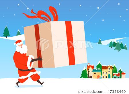 Christmas festive card background with Santa vector illustration. 005 47338440