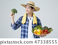 Agriculture industry, farming and people concept. Young farmer gesturing over gray background. 077 47338555