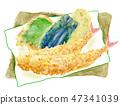 Tempura set shrimp fried hand-painted watercolor painting 47341039