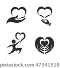 Caring hands. Valentines Day. Icon Set 47341510