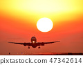 Flying with a beautiful setting sun Flying with a beautiful setting sun 47342614