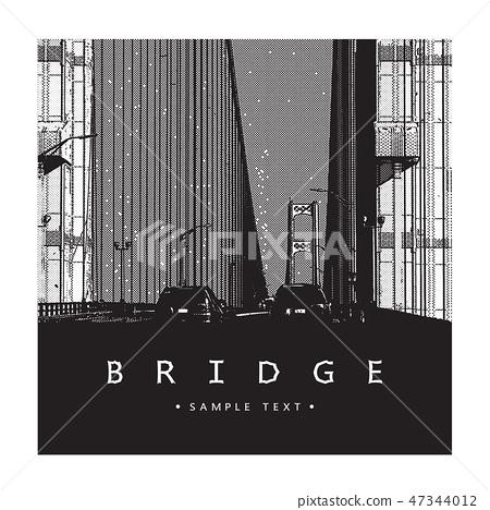 Bridge - vector graphic illustration. 47344012