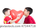 Boy  sibling with balloon  heart shape of love 47344718