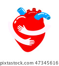 Red heart with hand embrace.  47345616