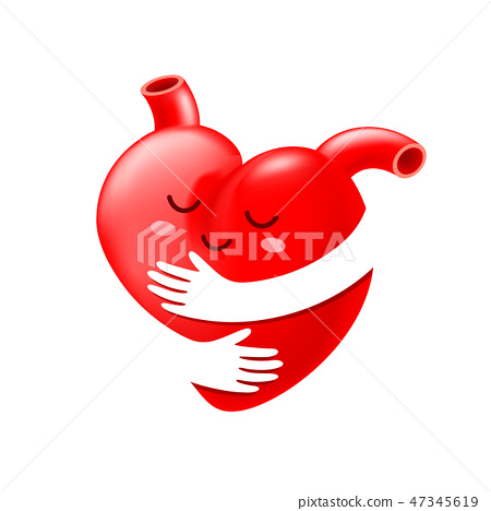 Red heart with hand embrace.  47345619