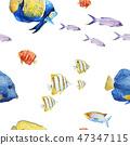 Watercolor sea life vector pattern 47347115