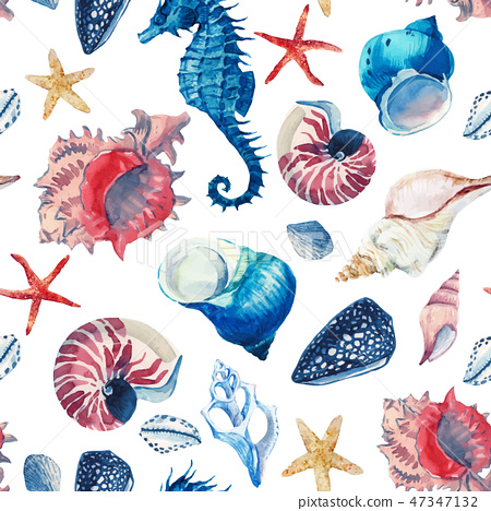 Watercolor sea life vector pattern 47347132