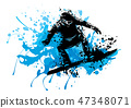 snowboard, silhouette, vector 47348071