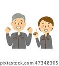 工作者給指向手指胸口鞋幫的老人少婦食道姿勢穿衣 47348305