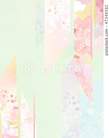 일본 - 일본식 - 일본식 디자인 - 배경 - 종이 - 봄 - 벚꽃 - 핑크 - 그린 47348582