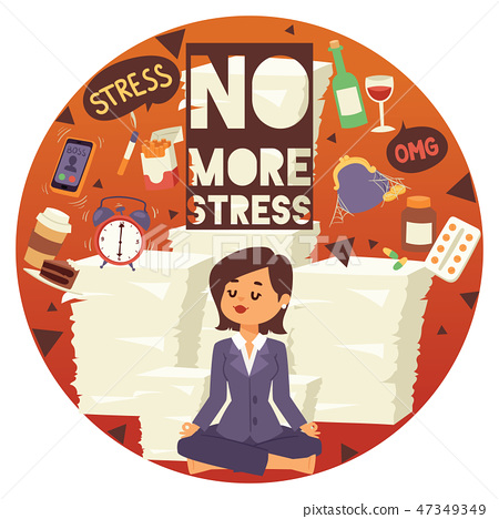 No more stress motivation background vector illustration. Young, calm, cartoon woman sittting and 47349349