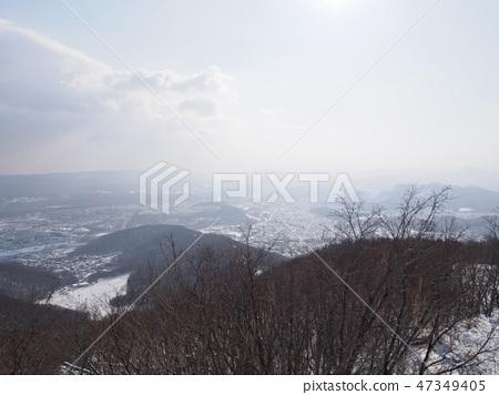 Sapporo Miyawa mountain in front of a snowstorm 47349405