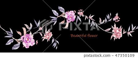 優雅的手繪花卉 47350109