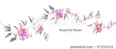 優雅的手繪花卉 47350110