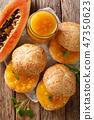 Organic food buns with ripe papaya jam and mint 47350623