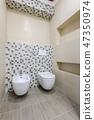 Bathroom interior, toilet and bidet 47350974