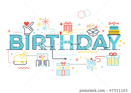 Birthday word lettering illustration 47351103