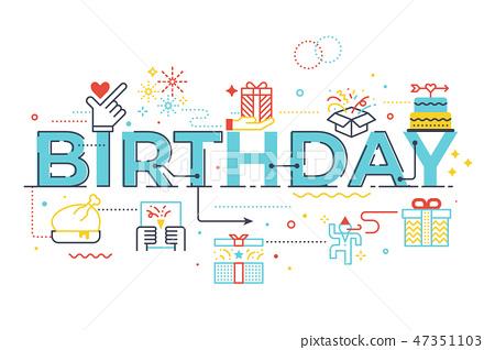 Birthday word lettering illustration 47351103